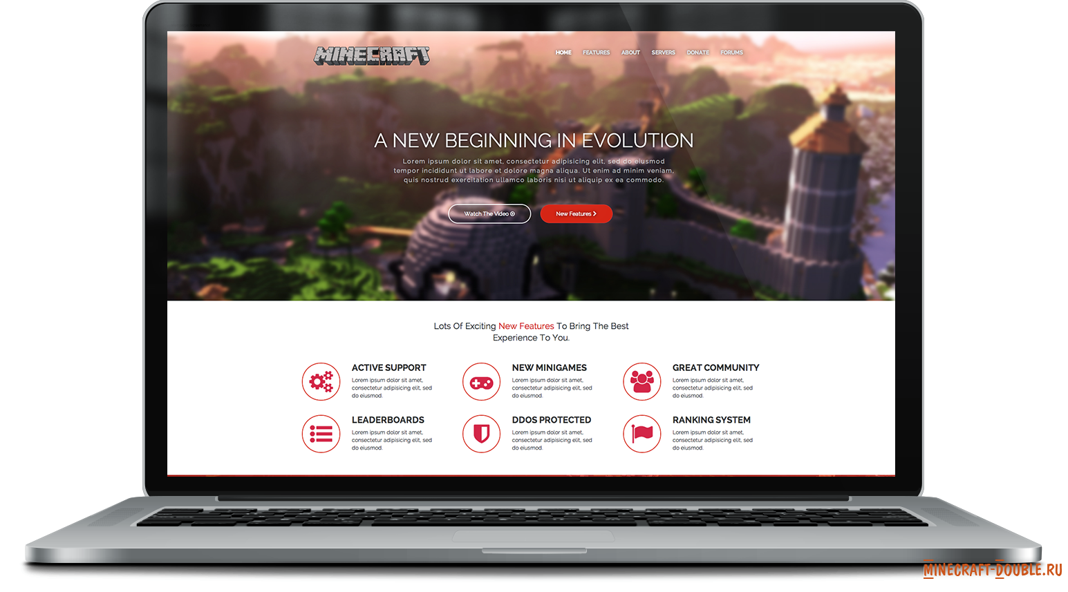 HTML Responsive One Page Minecraft Template